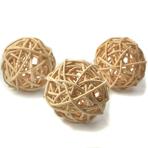 Ougual Set of 10pcs Wicker Rattan Balls Table Wedding Party Christmas Decoration (Diameter 5cm, Natural Color) ()