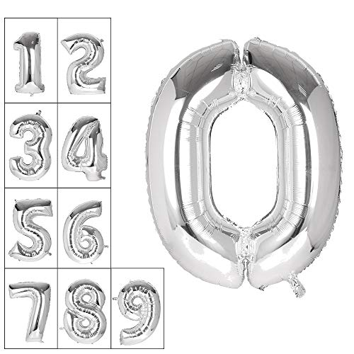 Lovne 40 Inch Silver Number 0 Balloon Birthday Party Decorations Helium Foil Mylar Number Balloons 0 to 9