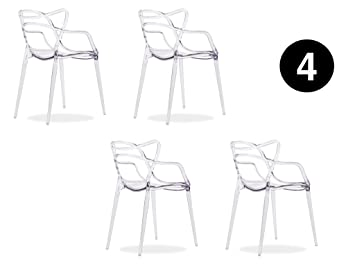 IBH DESIGN – Lote 4 Sillas Miami-plexi-Transparente-inspirée Starck Masters