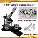 Pro 1-1/4'' 32mm Kit! Badge Button Maker Machine+Circle Cutter+100 Pin Badge