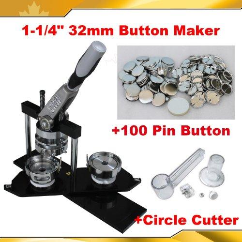 "Pro 1-1/4"" 32mm Kit! Badge Button Maker Machine+Circle ..."