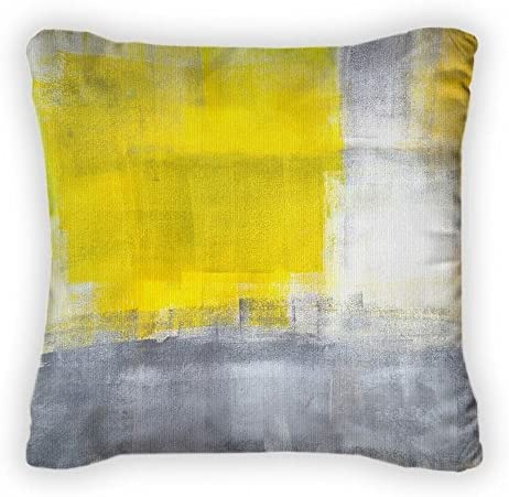 Gear New Grey and Yellow Abstract Painting Throw Pillow, Poplin, 14×14, GN765653
