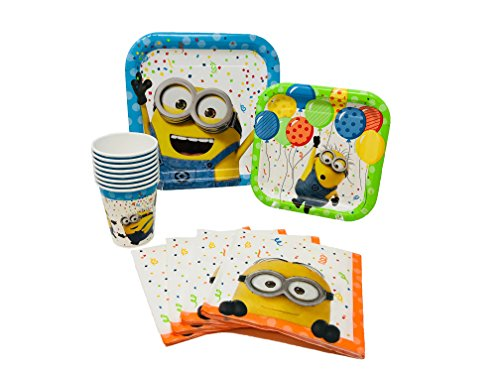 Despicable Me Minions Birthday Party Supplies Pack for 8 Guests Including Lunch Plates, Dessert Plates, Lunch Napkins, Cups