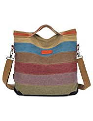 Becoler Fashion Women Canvas Striped Crossbody Bags Vintage Contrast Color Canvas Tote Handbags For Girls