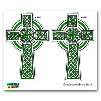 Celtic christian cross irish ireland scotland scottish green white set of 2