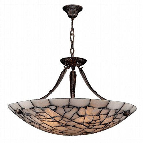 Stone Bowl Pendant (Worldwide Lighting W83802F24 Pompeii - Five Light Large Round Bowl Pendant, Flemish Brass Finish with Stone Glass)
