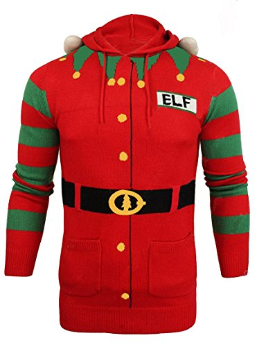 Costumes Ski Forum (North Pole Unisex Christmas Elf Sweater Hoodie, Red/Green, Large)