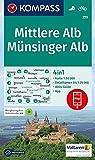 Mittlere Alb, Münsinger Alb: 4in1 Wanderkarte 1:50000 mit Aktiv Guide und Detailkarten inklusive Karte zur offline Verwendung in der KOMPASS-App. Fahrradfahren. (KOMPASS-Wanderkarten, Band 779)