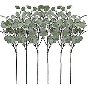 Artificial Greenery Stems 6 Pcs Straight Silver Dollar Eucalyptus Leaf Silk Greenery Bushes Plastic Plants Floral Greenery Stems for Home Party Wedding Decoration 81
