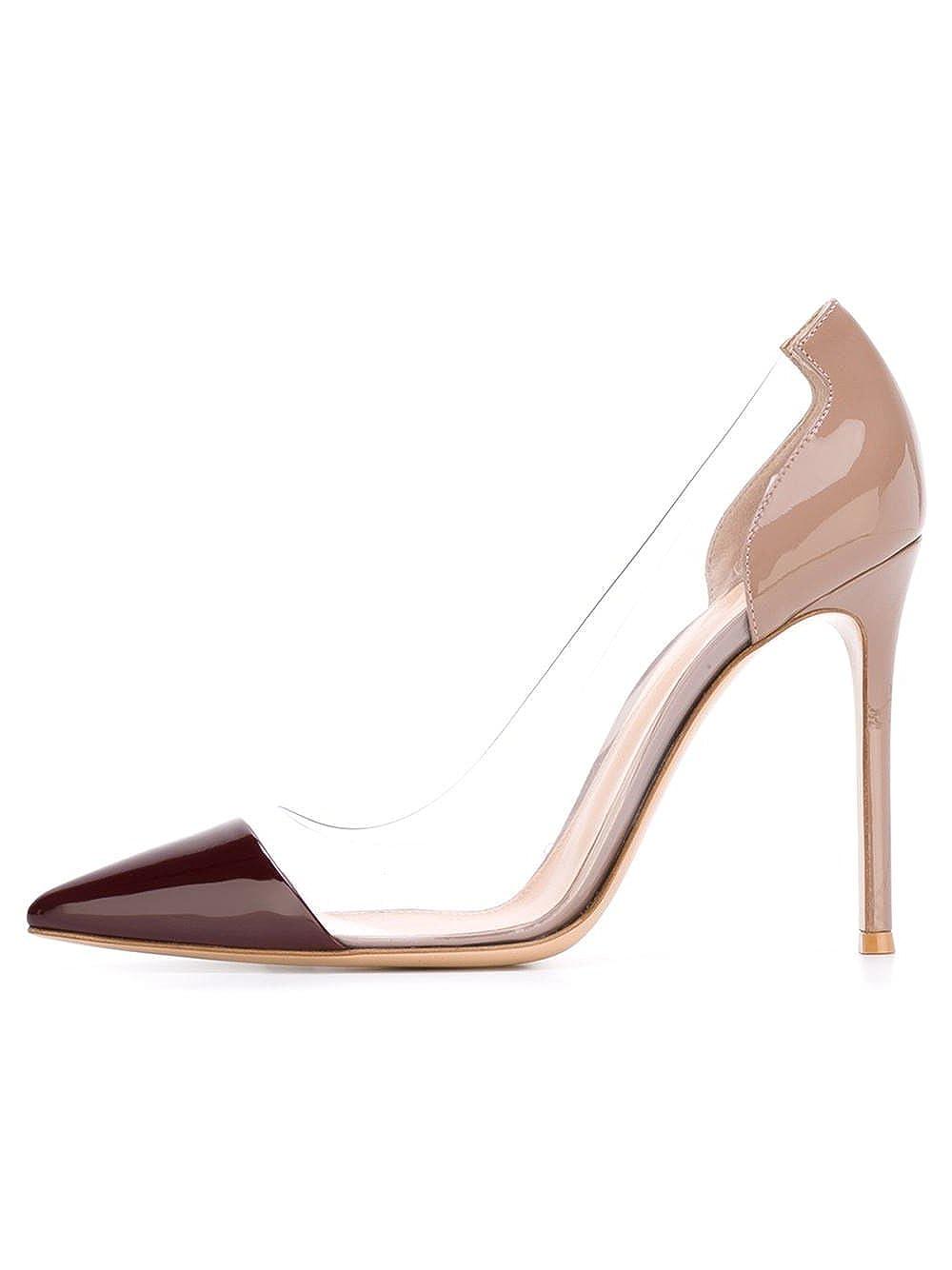 DYF Frauen nackt Scharfe feine Schuhe High Heel Transparent Light Big Größe Rot + Nackt 41