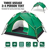 BATTOP 4 Person Family Camping Tent, 3 Usages Double Layer Waterproof Sun Shelter, Automatic Instant Pop Up Tents for Outdoor (Blue) (Green)