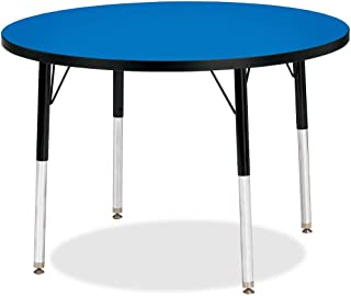 "product image for Jonti-Craft Kydz Activity Table 36"" Diameter/Elementary Height/Blue Top/Black Edge"