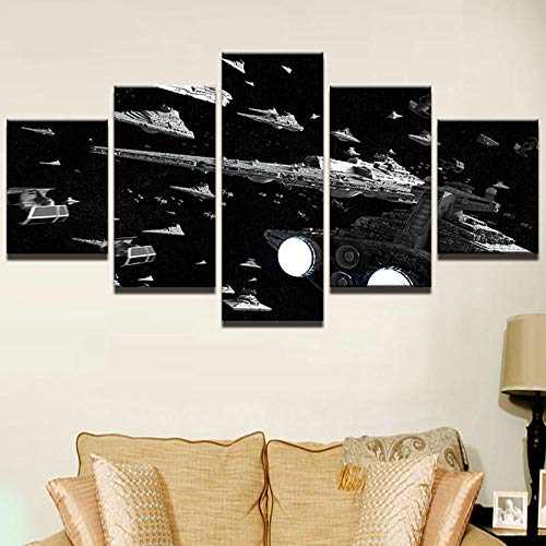 (WLHWLH Modern Abstract Photo Decor Pictures Living Room Wall Art 5 Panel Hd Poster Star Starfighter Canvas Painting-Framed)