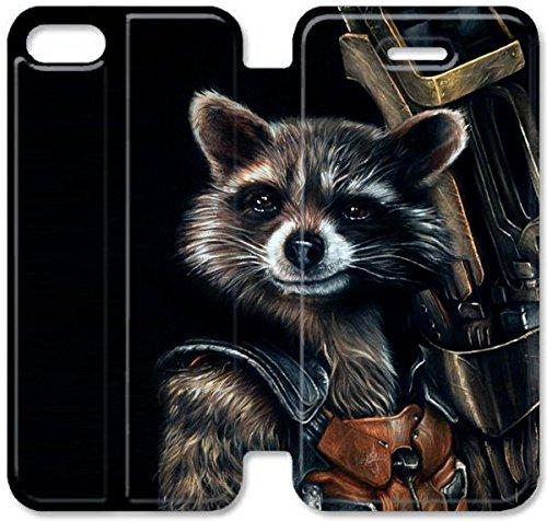 Flip étui en cuir PU Stand pour Coque iPhone 5 5S, bricolage 5 5S étui de téléphone cellulaire Gardiens de la Galaxie Raccoon Rocket étui en cuir pour les hommes N3M3MD Coque iPhone personnalisée
