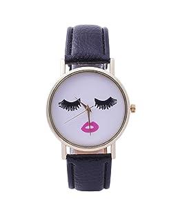 Star_wuvi Watches for Women Chic Face Pattern Watches Leather Watches Ladies Bracelet Watches Quartz Wrist Watch (Black)