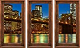 """(US) 3D Window View Wall Stickers - 3 Removable Art Decals For Living Room, Office, Kitchen Home Decor - Over 30 Images Available - Quality Guaranteed (X-Large - 27.5"""" x 48"""", New york)"""