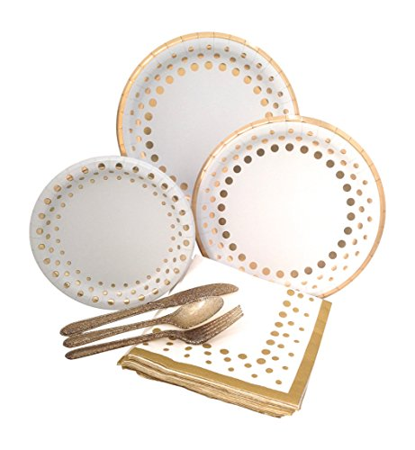 Gold Polka Dot Party Supplies Elegant Metallic Foil Includes Paper Plates, Napkins & Silverware for 8 -