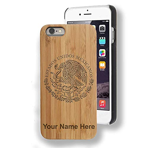 Bamboo case Compatible with iPhone 6 Plus and iPhone 6s Plus, Flag of Mexico, Personalized Engraving Included
