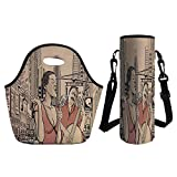 upright double bass 3 4 - 3D Print Neoprene lunch Bag with Kit Neoprene Bottle Cover,Jazz Music,An Jazz Singer With Double Bass Player in a Street of New York Urban Lifestyle,Brown Beige,for Adults Kids