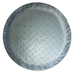 ADCO 9760 Silver Diamond Plated Steel Vinyl Spare Tire Cover O, (Fits 21 1/2\