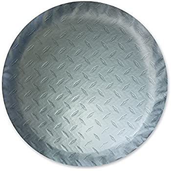 """Fits 34/"""" T Adco 9751 Vinyl Silver Diamond Plated Steel Spare Tire Cover Size A"""