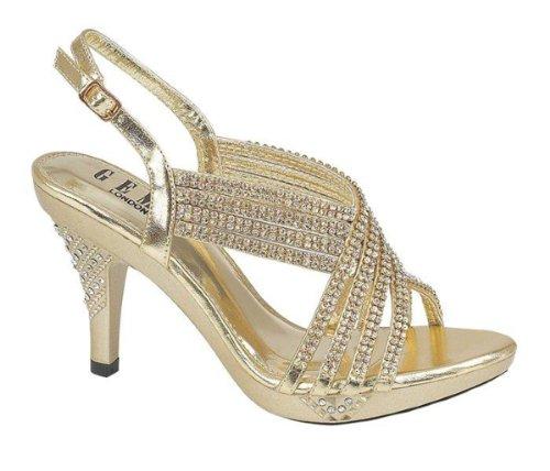 Chic Feet Womens Party Diamante Evening Wedding Bridal Prom Mid Heel Sandals Gold