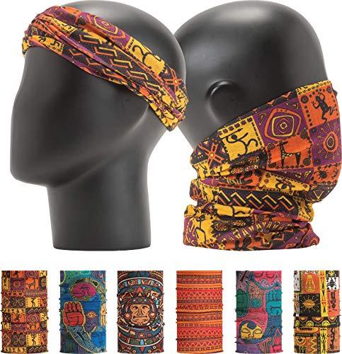 LEEVO Pattern Bold Headwear Scarf Boho Headband Wrap Shield Neck Gaiter Bandana (Free Size (18.5