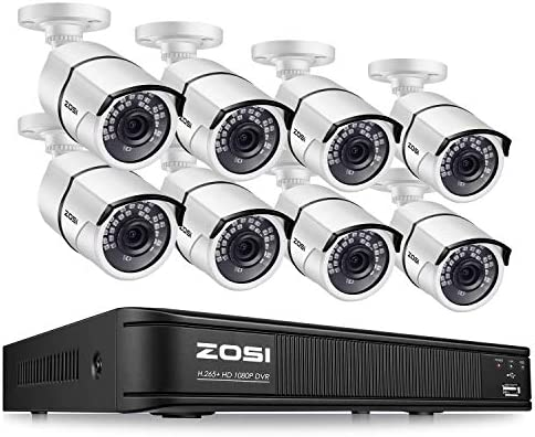 ZOSI 1080p H.265 Security Camera System for Home, 5MP Lite 8 Channel CCTV DVR and 8 x 1080p Weatherproof Bullet Cameras Outdoor Indoor with 120ft Night Vision and 105 Wide Angle No HDD Included