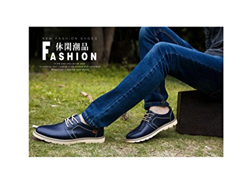 up Shoes UPSUN Loafers Genuine Penny Men's Blue Driver Lace Leather Flats Business x6Op8rnw6I