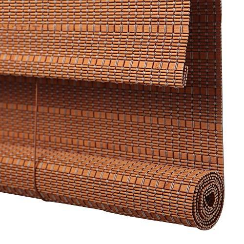 JIAYUAN Roller Shades Natural Bamboo Roll Up Window Blind Roman Sun Shade for Balcony Living Room Tea Room Sunshade (Size : 48