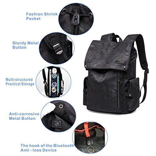 Laptop Outdoor Backpack, Travel Hiking& Camping Waterproof Pack with Bluetooth Anti-Loss Device, Casual Large College School Daypack, Shoulder Book Bags Back Fits 15'' Laptop & Tablets (Black Camo) by HiOrange (Image #2)