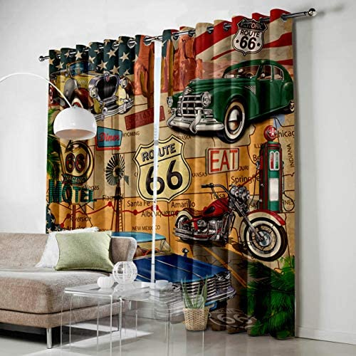 SODIKA 2 Window Curtain Panels for Living Room Bedroom Kitchen Grommets Window Treatment and Drapes,American Antique Car Old Classic Car Theme Route 66 Diner Chic Motorcycle 52 by 84 Inch