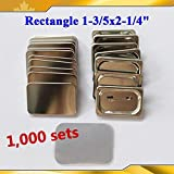 1000 Sets 1-3/5x2-1/4'' 40x60mm Rectangle Pin Badge Button Parts Supplies Machine(item#015540*10)