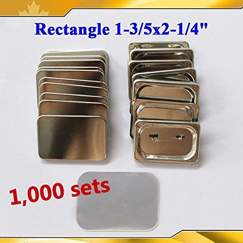 1000 Sets 1-3/5x2-1/4'' 40x60mm Rectangle Pin Badge Button Parts Supplies Machine(item#015540*10) by Button Maker