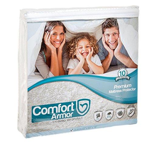 COMFORT ARMOR Mattress Protector - Queen Size Waterproof & Hypoallergenic Mattress Protector (California Queen Mattresses)