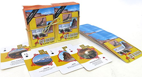 Shopitivity LLC New Mexico, Souvenir Playing Cards, Vacation Gift. Card Faces Feature Multiple Landmarks, Oustsanding Tourist Gift. The Two Deck Set Includes a Gold Gift Ribbon