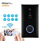 JRobot WiFi Video Doorbell,Battery Powered HD Wireless Smart Ring Door Bell 720P HD Camera with Two-way Audio Intercom,Phone Wake Up Camera,Motion Detection,Cloud Storage,Night Vision(Black)