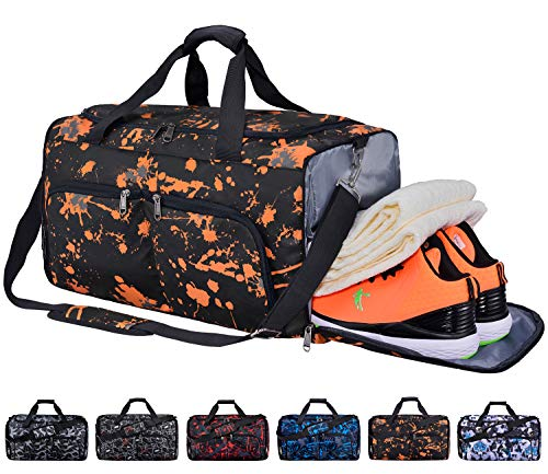 FANCYOUT Sports Gym Bag with Shoes Compartment & Wet Pocket, Travel Duffel Bag for Men and Women (Geometric Pattern-Yellow)