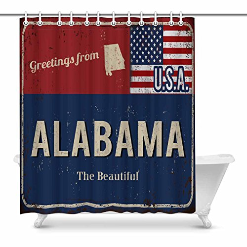 - InterestPrint Alabama the Beautiful State Rusty Metal Sign with USA Flag Waterproof Shower Curtain Decor Fabric Bathroom Set with Hooks, 72(Wide) x 84(Height) Inches