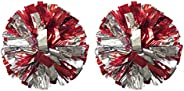 Regpre 14 inch Cheerleader pom poms Cheerleading Red Siliver Cheer pom poms Metallic Foil with Ring for Cheeri