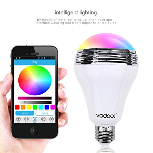 Vodool Bluetooth Led Light Bulb Speaker,E27 Dimmable Color Changing Remote Control Ceiling Light Built in Music Audio Speaker for Home, Office, Parties, Dinners Use