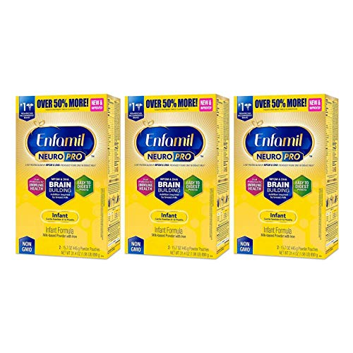 Enfamil NeuroPro Infant Formula- Brain Building Nutrition Inspired by Breast Milk, Milk Powder Refill, 31.4 ounce – MFGM, Omega 3 DHA, Probiotics, Iron & Immune Support, Pack of 3 (Packaging May Vary)