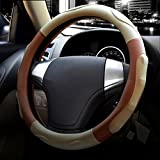 Automotive : Microfiber Leather Steering Wheel Cover Universal 15 inch (Style 3 - Beige Brown)