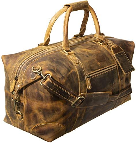 "Viosi Genuine Leather Travel Duffel Bag | Oversized Weekend Luggage | Buffalo Leather Duffle Bag For Men / Women | Sports Gym Overnight Carry-On Bag | Great Gift Idea (21"" Antique Hunter)"