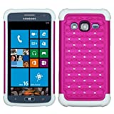 MyBat ASMYNA Samsung i800 (ATIV S Neo) Luxurious Lattice Dazzling TotalDefense Protector Cover - Retail Packaging - Hot Pink/White