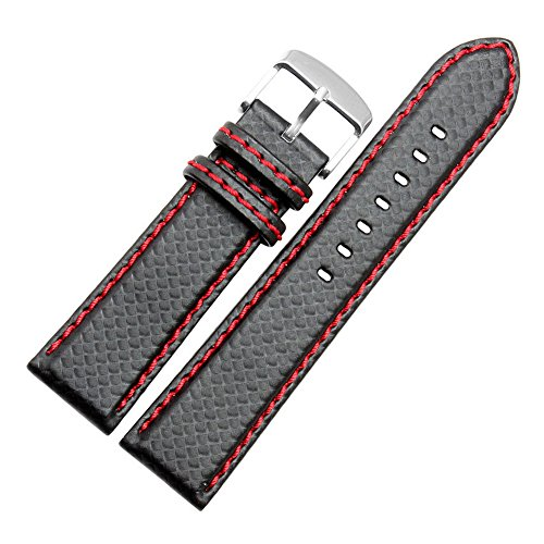 m,22mm or 24mm Waterproof Carbon leather Watch Band Black Leather Replacement Watch Strap for Men Women (20mm, Red Stitches) ()