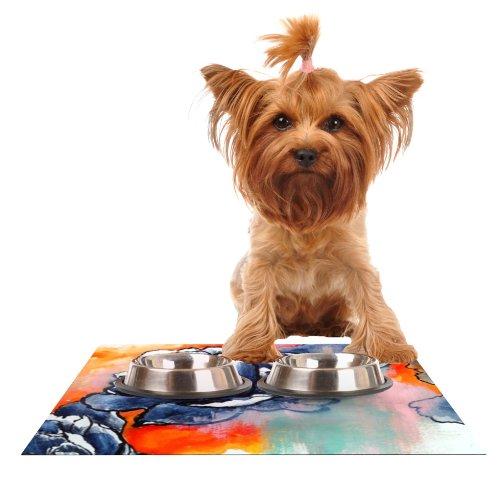 Kess InHouse Sonal Nathwani Bloom  Feeding Mat for Pet Bowl, 18 by 13-Inch