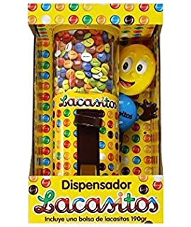 DISPENSADOR DE LACASITOS - Dispensador de grajeas de chocolate recubiertas de una fina capa de azúcar