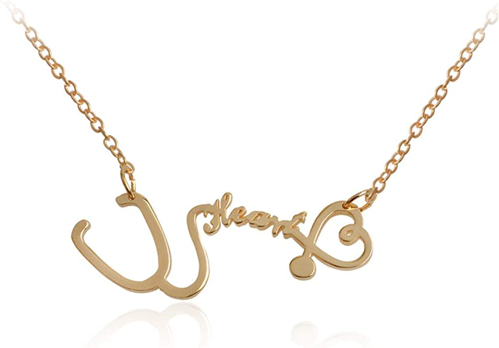 Elefezar Personalized 925 Sterling Silver Stethoscope Name Necklace