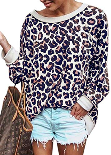 ECOWISH Women's Casual Leopard Print Pullover Long Sleeve Sweatshirts Top Blouse Faded Blue - Leopard Print Cotton